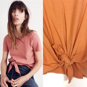 Madewell  Texture and Thread Orange Tie Front Top